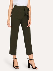 Knot Side Solid Pants