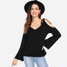 Cold Shoulder Knot Detail Solid Sweater