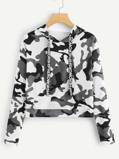 Letter Tape Camo Print Hooded Sweatshirt