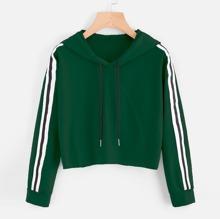 SHEIN   Contrast Striped Drawstring Hoodie Sweatshirt   Goxip