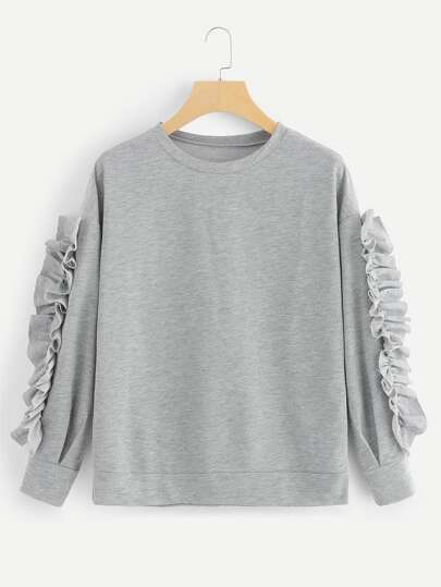 Frill Decoration Solid Sweatshirt