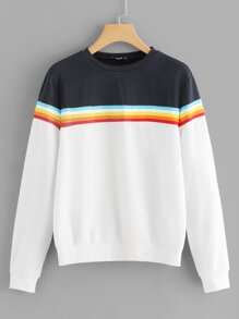 Cut and Sew Striped Sweatshirt