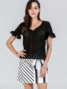 Lace Eyelet Bell Sleeve Solid Top