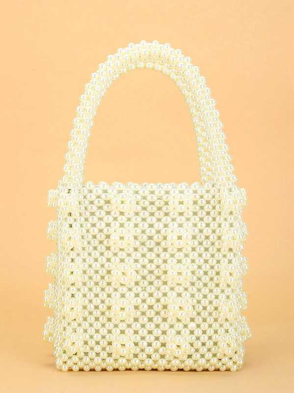 8aebab1f Faux Pearl Beaded Tote Bag | SHEIN UK