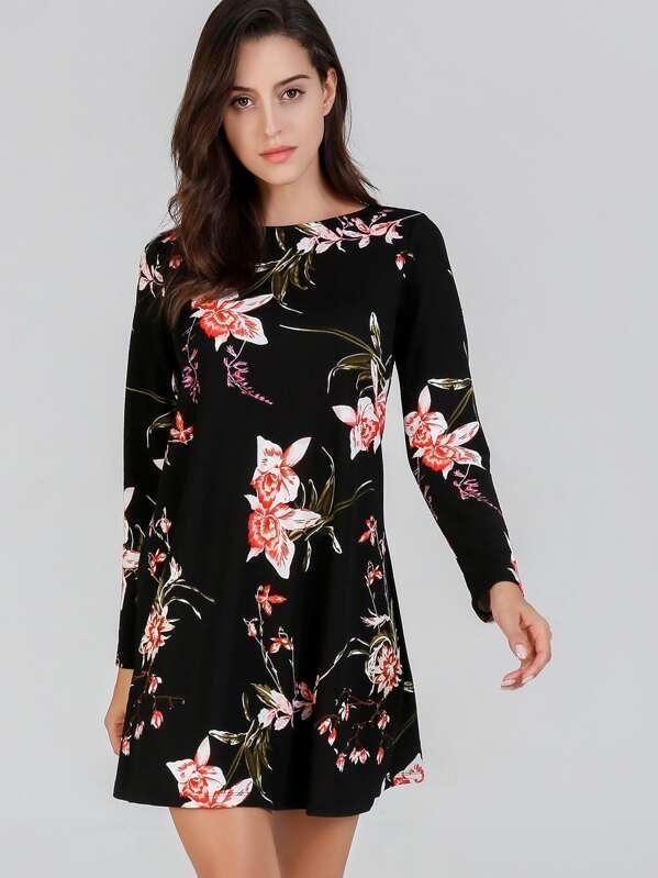 Vestido De Manga Larga De Flores