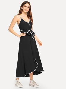 Contrast Binding Surplice Wrap Cami Dress