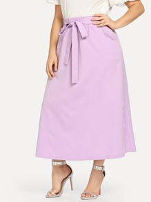 Plus Self Belted Solid Skirt