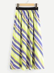 Plus Wide Waistband Striped Flare Skirt