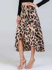 Waist Knot Leopard Print Skirt