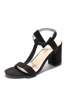 Strappy Design Block Heeled Sandals
