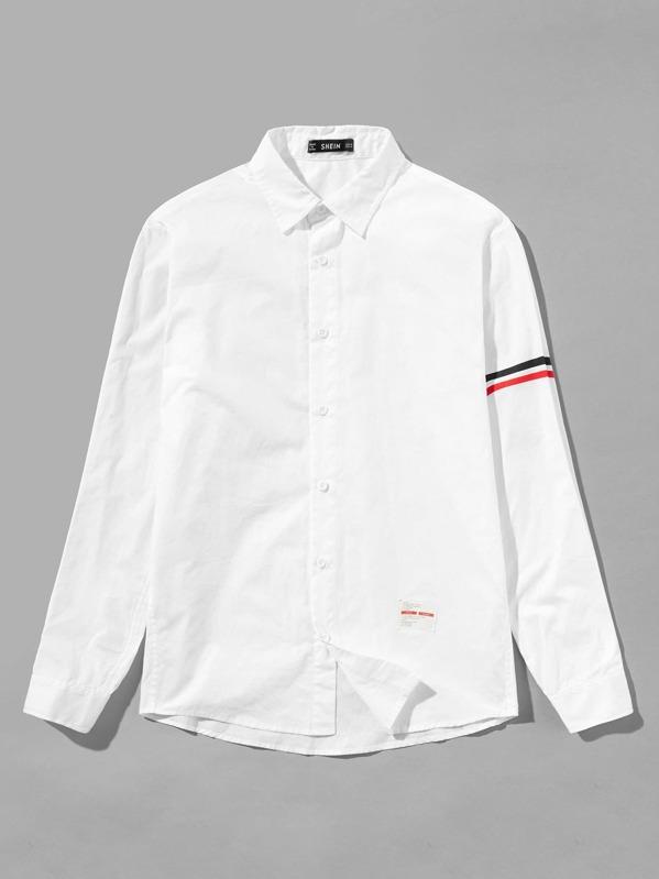 69ccc08bc9 Men Striped Trim Sleeve Shirt | SHEIN
