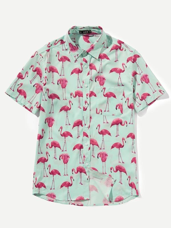 f7a27ea63a Men Allover Flamingo Print Shirt