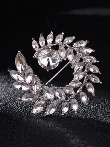 Rhinestone Leaf Shaped Brooch