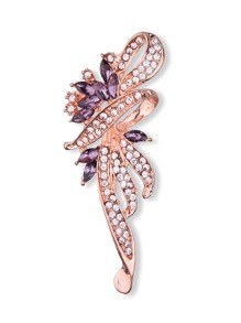 Two Tone Rhinestone Design Brooch