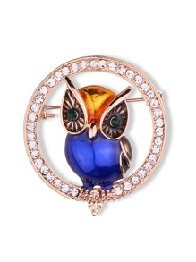 Owl Decorated Circle Rhinestone Brooch