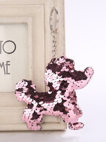 Dog Shaped Sequin Keychain