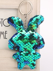 Rabbit Shaped Sequin Keychain