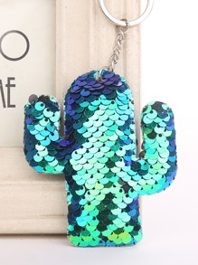 Cactus Shaped Sequin Keychain
