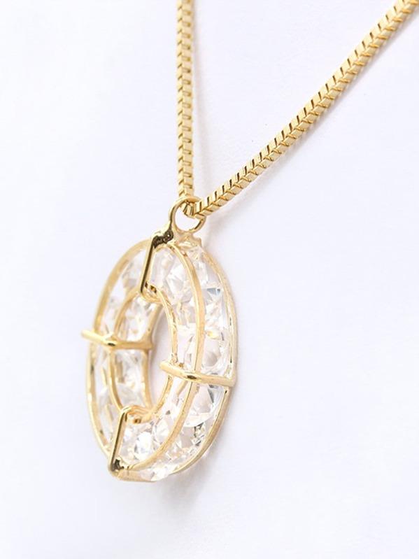 40b4da1eaa Crystal Open Circle Pendant Necklace   SHEIN