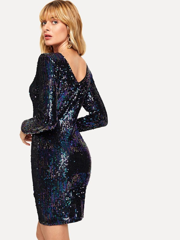 ee000bc2d7271 Iridescent Long Sleeve Sequin Bodycon Dress | SHEIN