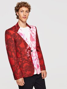 Men Pocket & Button Up Notched Neck Floral Blazer