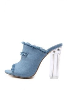 Raw Trim Denim High Heeled Sandals