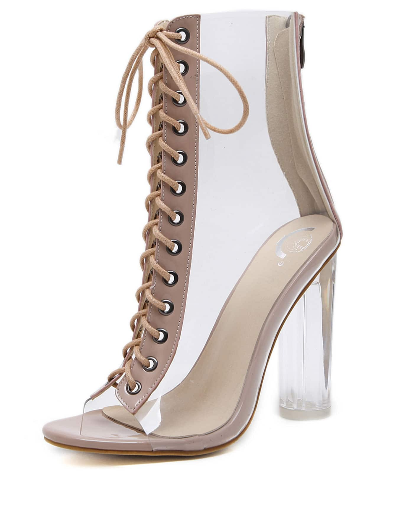 b8a94f7b4293 Peep Toe Lace Up Chunky Heels EmmaCloth-Women Fast Fashion Online