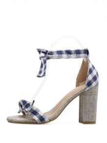Gingham Knotted Decor Chunky Sandals