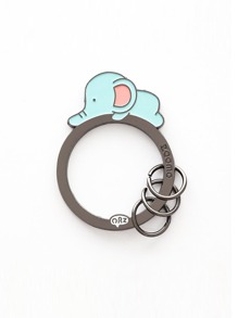 Elephant Detail Ring Keychain