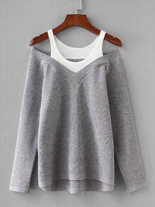 Contrast 2 In 1 Knit Jumper