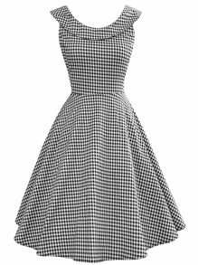 Gingham Plaid Flare Dress