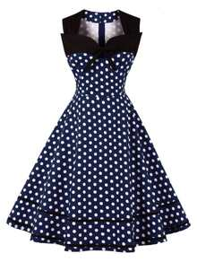 Sweetheart Dot Print Flare Dress