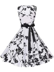 Floral Bow Tie Flare Dress