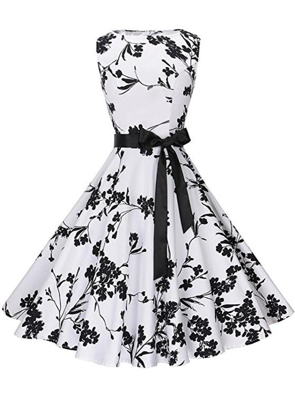 3bf9da3b0b Ribbon Tie Fit & Flare Floral Dress -SHEIN(SHEINSIDE)