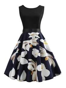Ribbon Tie Floral Print Flared Combo Dress