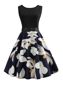 Floral Pattern Bow Tie Back Dress