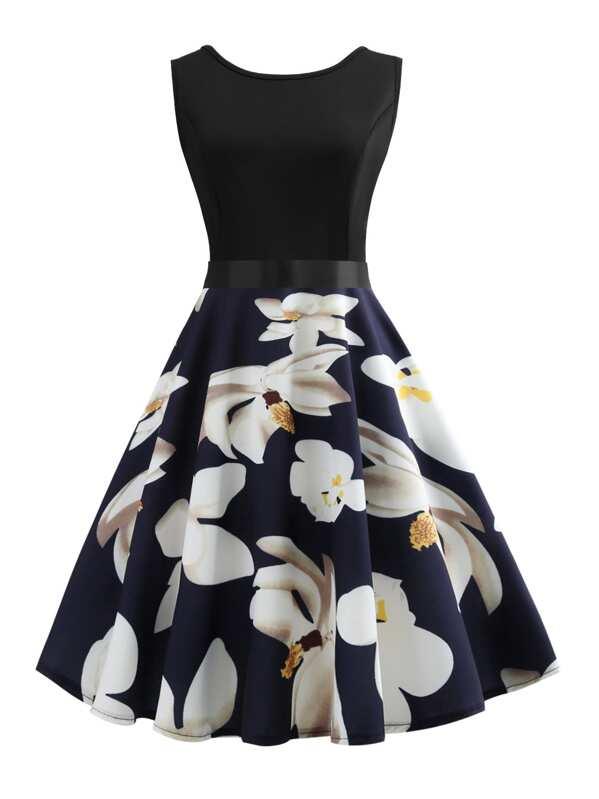 3f063d0da7 Cheap Ribbon Tie Floral Print Flared Combo Dress for sale Australia | SHEIN