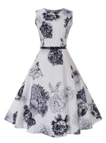 Floral Flare Dress With Belt