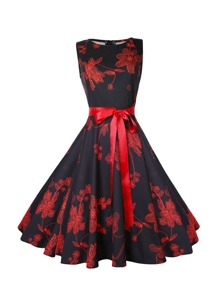 Floral Pattern Bow Tie Dress