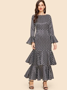Tiered Layered Ruffle Sleeve Dot Print Dress