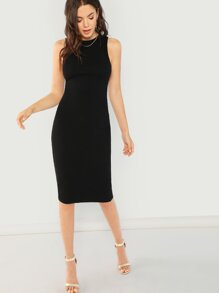 Solid Rib Pencil Dress