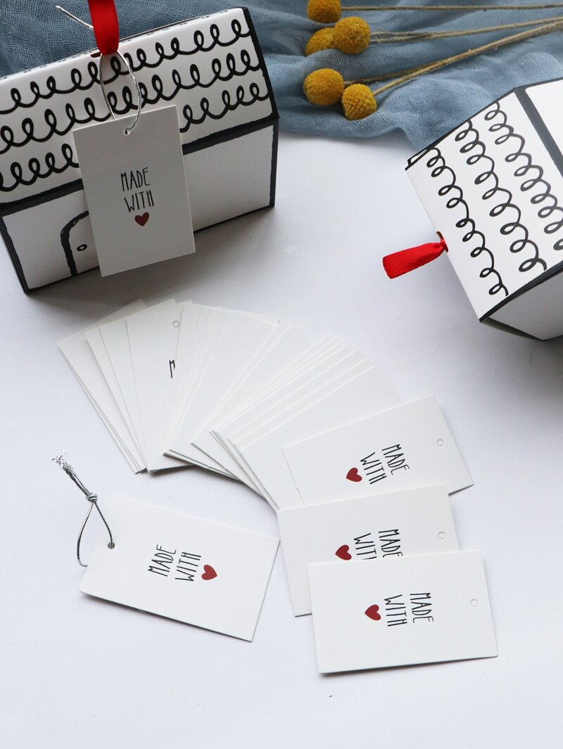 Letter Print Paper Tag 50pcs