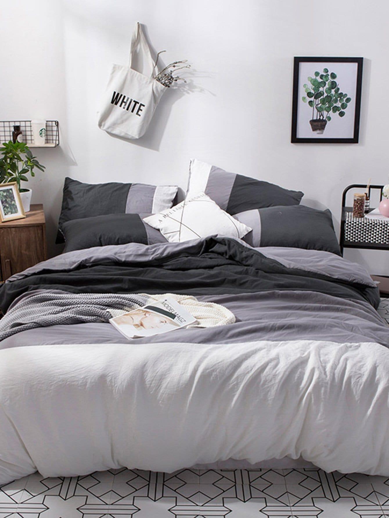 ensemble de draps imprim contrast french shein sheinside. Black Bedroom Furniture Sets. Home Design Ideas