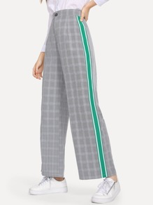 Tape Detail Plaid Wide Leg Pants