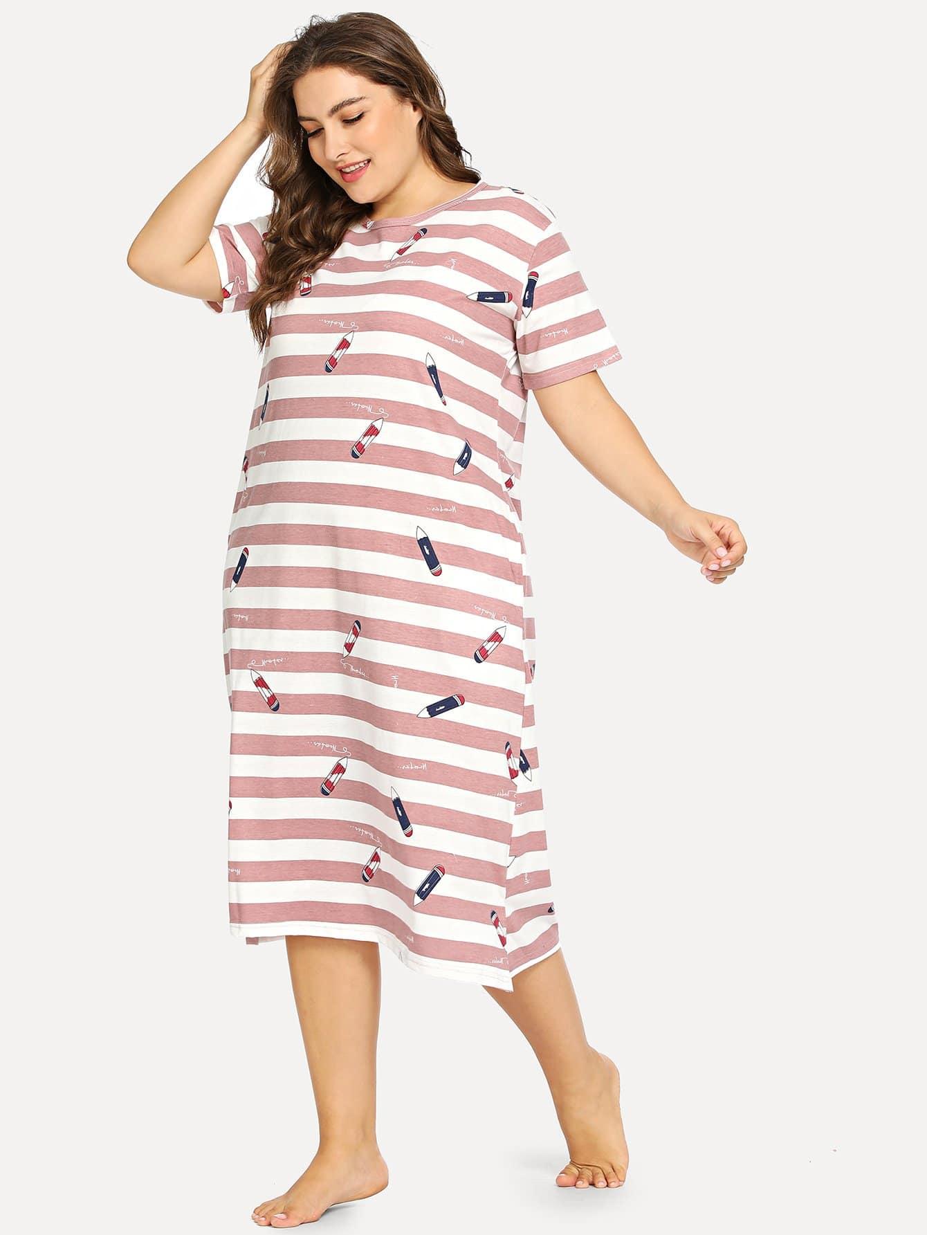 Plus Pencil Print Striped Night Dress