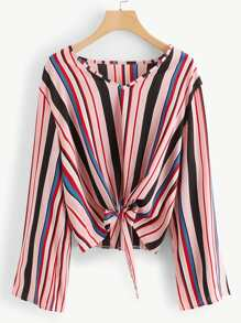 Plus Knot Hem Striped Blouse