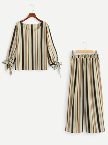 Plus Knot Side Striped Top With Pants