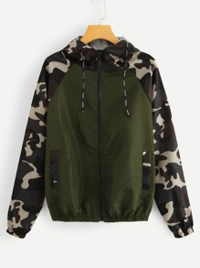 Contrast Camo Panel Drawstring Hooded Jacket