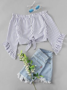 Striped Ruffle Trim Off The Shoulder Knot Blouse