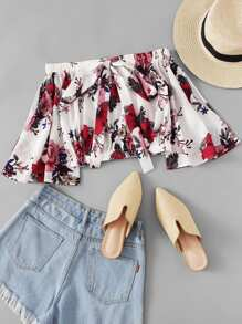 Floral Print Tie Neck Off The Shoulder Blouse